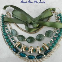 Green Lucite Bead Ribbon Tie Multi Strand Chain Necklace; Handmade
