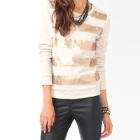 Sequined Stripes Pullover