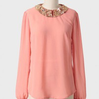 ethereal light sequin detail blouse at ShopRuche.com