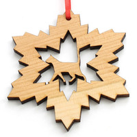 "Cat Lover's Wood Snowflake Ornament 3 1/2"" . Timber Green Woods"