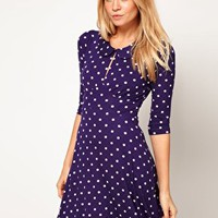 ASOS Mini Dress In Spot Print With Peter Pan Collar at asos.com