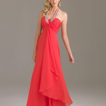 Watermelon Embellished Chiffon Empire Waist Prom Dress - Unique Vintage