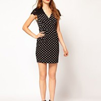 Darling Spot Wrap Dress with Lace Shoulders at asos.com