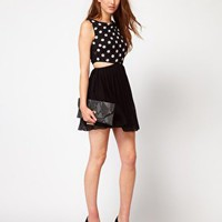 AX Paris Polka Dot Dress With Cut Out at asos.com