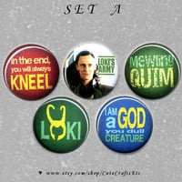 5 Set Loki Laufeyson Pin-back Buttons (1-inch) (SET A)