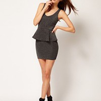 River Island V Neck Peplum Dress Metallic at asos.com