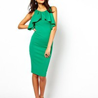 ASOS Midi Pencil Dress With Ruffles at asos.com