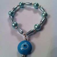Evil Eye Bracelet Light Blue Pearls Unique Handmade | eBay