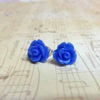 Nautical Navy Blue Flower Post Earrings