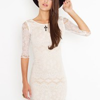 Lace Scoop Dress - Ivory in  Clothes Dresses at Nasty Gal