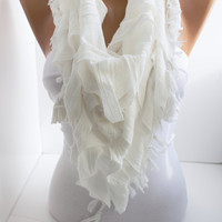 ON SALE New Gift  Triangle Curly White Shawl Scarf