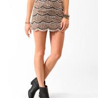 Sequined Mesh Miniskirt