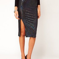 ASOS Pencil Skirt in Hologram with Thigh High Split at asos.com