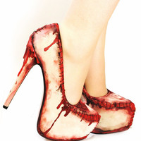 Zombie flesh blood and stitches platform heels
