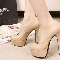 Wholesale Ladies pumps with rivet thin heel sexy shoes XD-FD980-3 apricot - Lovely Fashion
