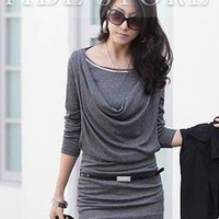 Premier OL Style Korean Style Slim Drape Long Sleeve Dress: tidestore.com