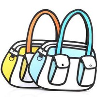 Jump Stytle Funny Cartoon Bag 2D Looking Morning Bag Look like Draw From Paper