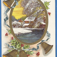 Happy New Year Vintage Postcard, winter scene, bells and holly, cardmaking scrapbooking crafts