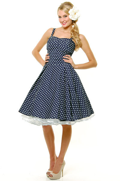 Navy &amp; White Polka Dot Ruched Swing Dress - Unique Vintage - Cocktail, Evening &amp; Pinup Dresses