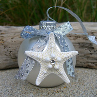 Starfish Christmas Ornament-WHITE CHRISTMAS-Beach Christmas Decor, Coastal Chic, Holiday Decorations, White Ornaments, Starfish, Mermaids