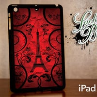 iPad Mini Hard Case - Red Paris Eiffel Tower Art - Tablet Cover