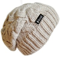Frost Hats Winter Hat for Women BEIGE Slouchy Beanie Cable Hat Knitted Winter Hat Frost Hats One Si