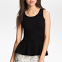 Soprano Ponte Knit Peplum Top (Juniors) | Nordstrom