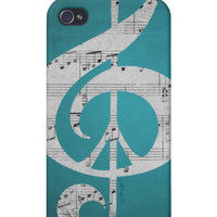 iPhone Case, 5, 4S, 4, 3GS, Music &amp; Peace Aqua Sheets, Protective, Sleek, Aqua, Turquoise, Black, White, Gray, Glee