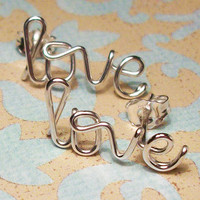 Love Earrings, Pair, Sterling Silver or Gold Filled