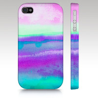 iPhone 4s case, iPhone 4 case, watercolor design, abstract painting, pink purple aqua turquoise, art for your phone