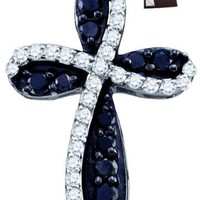 10KWG Diamond Cross Charm Contains 0.97CT Of White Diamonds And Black Diamonds All Over The Charm -