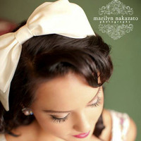 Big bow headband in ivory taffeta headbands for by BeSomethingNew