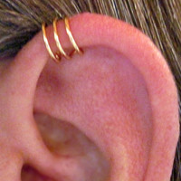 "No Piercing Handmade Helix Cuff Ear Cuff ""Triple Loops"" 1 Cuff Color Choices"
