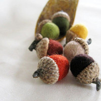 7 felted acorn fall colors by ronc3m on Etsy