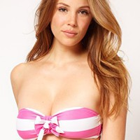 ASOS Mix and Match Stripe Bow Bandeau Bikini Top at asos.com