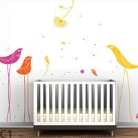 Birds Wall Decal Carnival Birds Mural by LeoLittleLion on Etsy