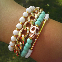4 layers in 1 Skull Tiffany Blue Matte White Bracelet Gold Chain