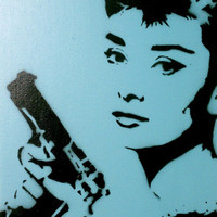 BLOODBATH AT TIFFANY&#x27;S v3 Audrey Hepburn wall art by MrMahaffey
