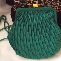 Delill Silk Purse / Vintage / Ribbon Pleated Bag / Emerald Green / Evening Handbag / St Patty's Day