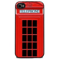 Red British Phone Booth - iPhone 4 or 4s Cover