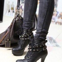 Latest Girls Rivets Black High Heeled Pumps  : Wholesaleclothing4u.com