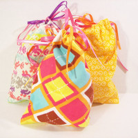 Fabric Gift Bags / Drawstrong Goodie Bags in Bright and Beautiful Theme - Set of 3