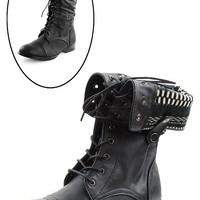DbDk Fashion Sharp1 Black Nordic Lining Combat Boots shop Boots at MakeMeChic.com