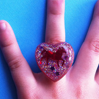 Red Glittery Heart Pony Resin Ring