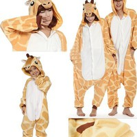 Zicac Costume Giraffe Animal Children and Adult Pajamas Pyjamas Sleepwear Nightclothes Loungewear C
