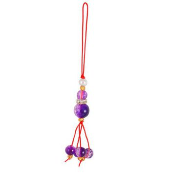 Gino Round Plastic Beads Purple Calabash Pendants Cell Phone Charm Strap