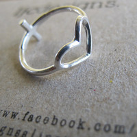 Heart Ring, Sideways Cross Ring, Reversible Sterling Silver Ring - Made to Order