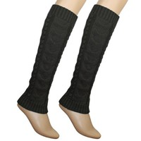 Cable Knit Trimmed Classic Boot Shaft Style Soft Acrylic Leg Warmer - Gray