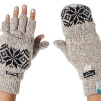 Alki'i 3M Thinsulate Thermal Insulation Fingerless Texting Gloves with Mitten Cover - Cream: Clothing