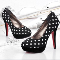 Wholesale Fashion Dot Embellished High-Heeled Pump Black http://www.wholesale-dress.net